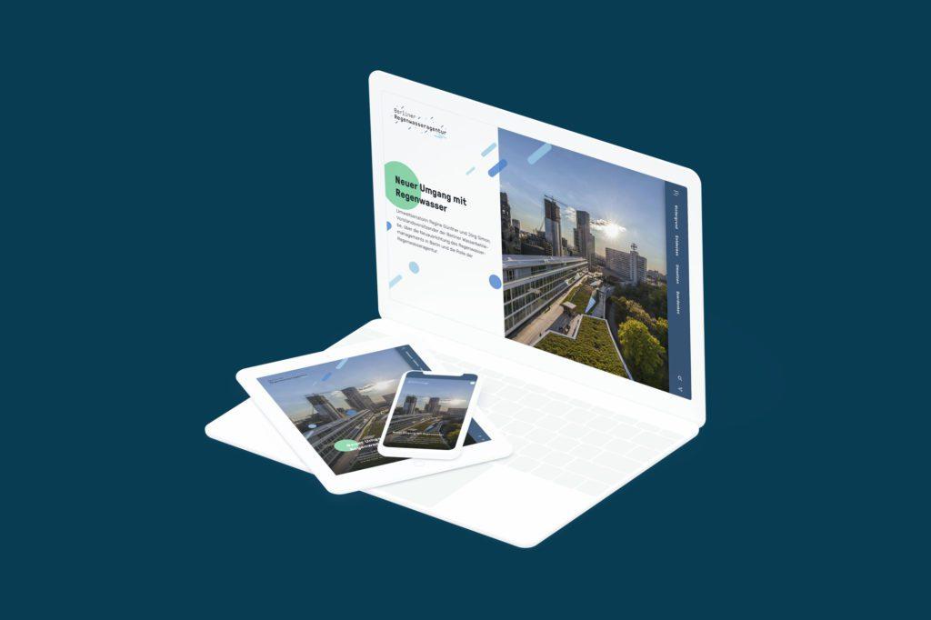 Website für die Berliner Regenwasseragentur – responsiv auf Desktop, Tablet und Smartphone