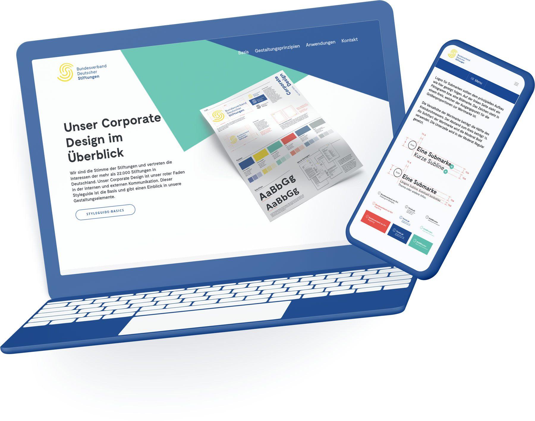 Digitales Design Manual + Styleguide für Bundesverband Deutscher Stiftungen