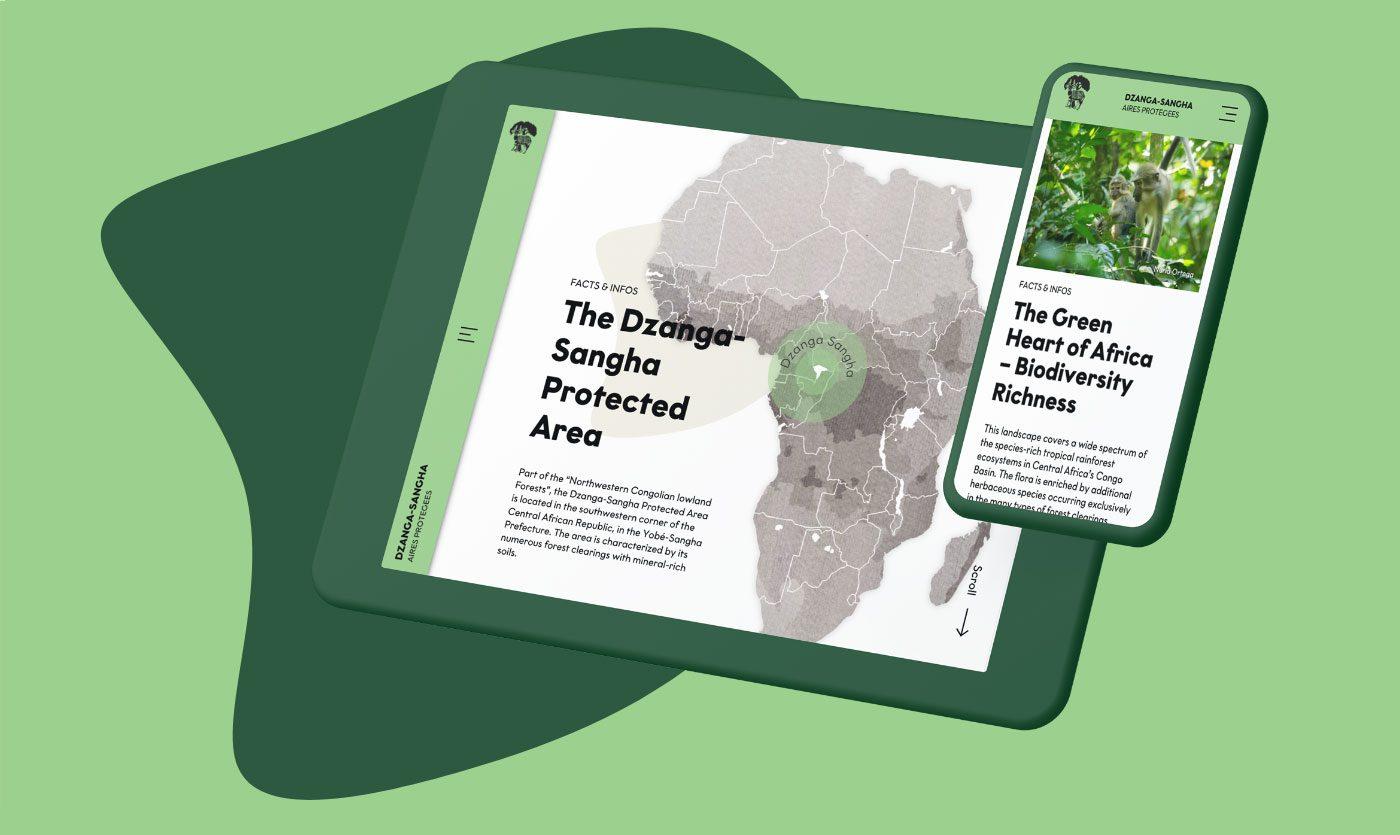 Dzanga-Sangha-Website auf Tablet und Smartphone