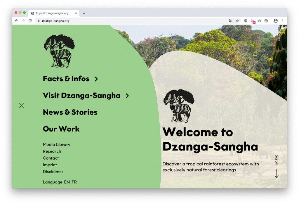 Navigation der Wordpress-Website für das Dzanga-Sangha Schutzgebiet
