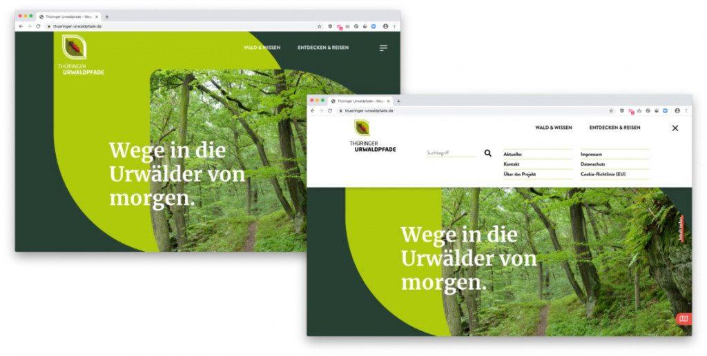 Thüringer Urwaldpfade Startscree und ausgeklappte Navigation