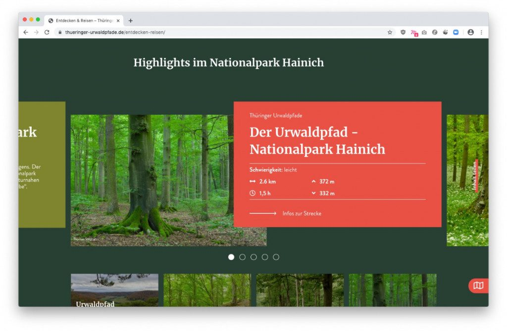 Slider für die Routen der Thüringer Urwaldpfade